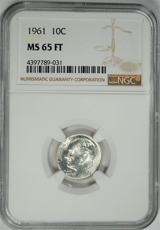 1961 ROOSEVELT DIME NGC MS-65 FT