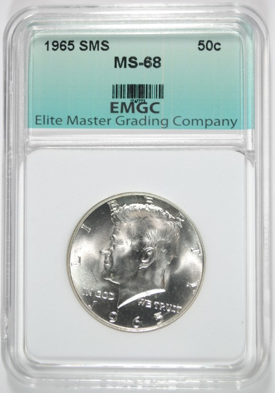 1965 SMS KENNEDY HALF DOLLAR EMGC SUPERB GEM+ BU