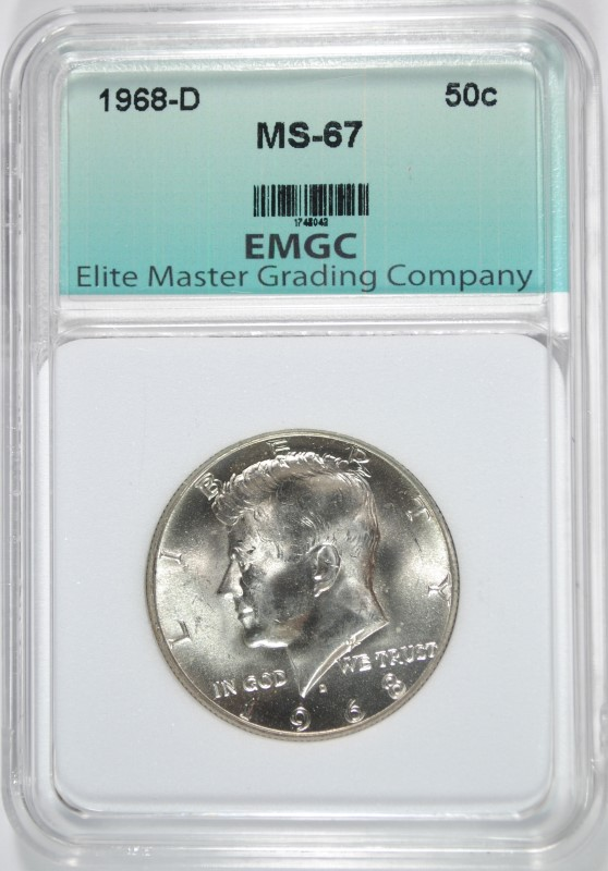 1968-D KENNEDY HALF DOLLAR EMGC SUPERB GEM BU
