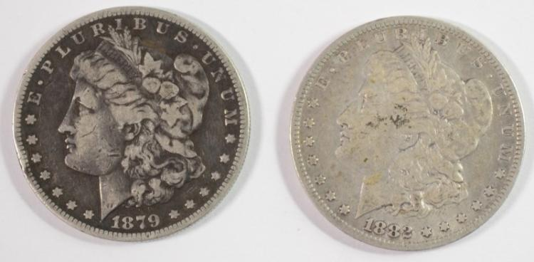 2 - MORGAN DOLLARS; 1882-O F/VF & 1879-S VG