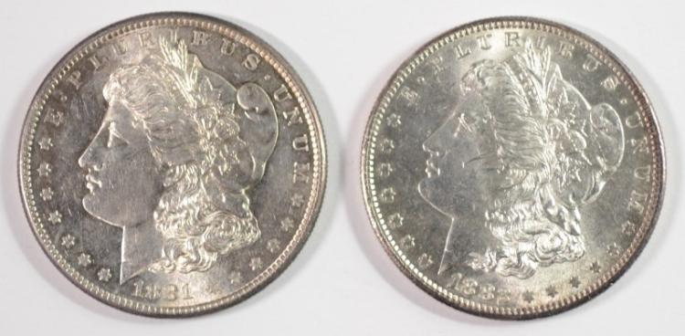 1881-S, & 1882-S MORGAN DOLLARS CH BU