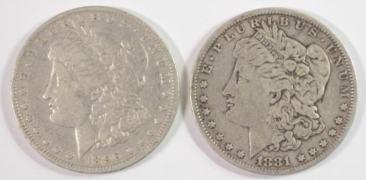 2 - MORGAN DOLLAR;1896-O F/VF & 1881 F/VF