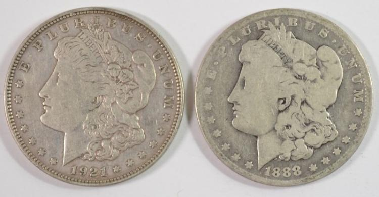 2 - MORGAN DOLLARS; 1888-O VG & 1921-D XF