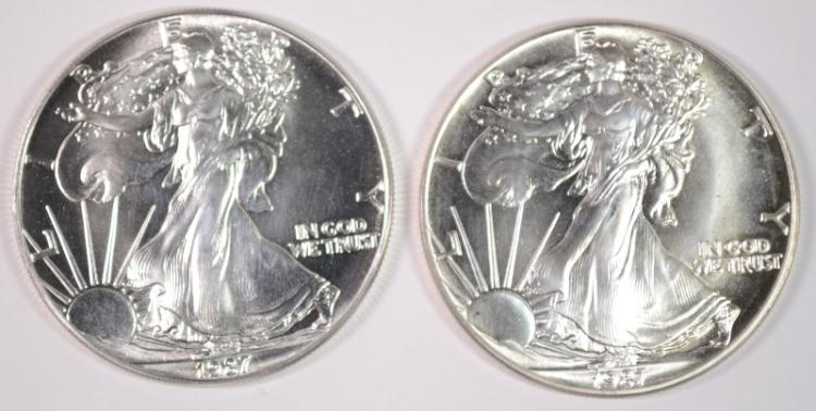 ( 2 ) BU 1987 AMERICAN SILVER EAGLE ONE OUNCE .999 SILVER COINS