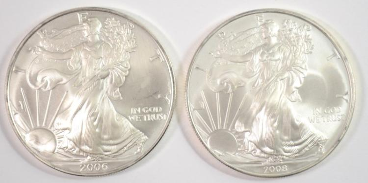 2006 & 2008 UNC AMERICAN SILVER EAGLE ONE OUNCE .999 SILVER COINS