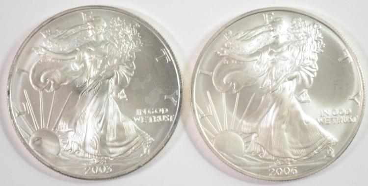 2003 & 2006 UNC AMERICAN SILVER EAGLE ONE OUNCE .999 SILVER COINS