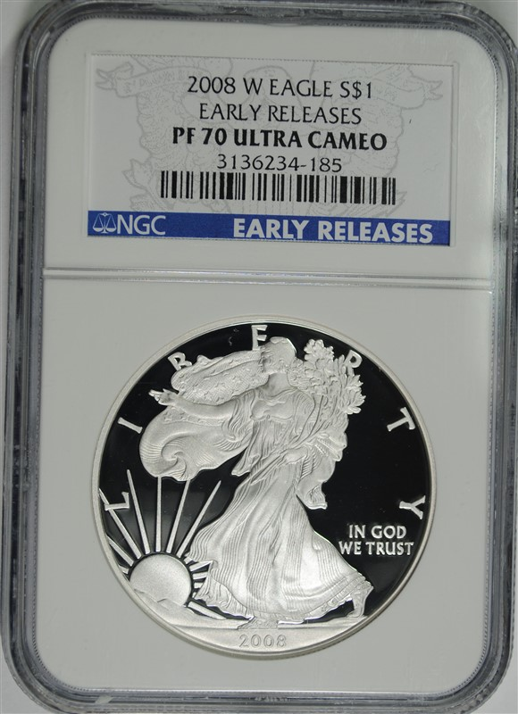 2008-W PROOF AMERICAN SILVER EAGLE, NGC PF-70 ULTRA CAMEO EARLY RELEASES