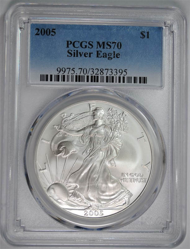 2005 AMERICAN SILVER EAGLE, PCGS MS-70 PCGS PRICE GUIDE=$300.00