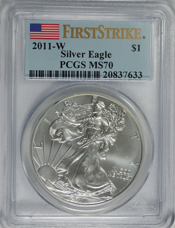 2011-W AMERICAN SILVER EAGLE, PCGS MS-70 FIRST STRIKE PCGS PRICE GUIDE=$180.00