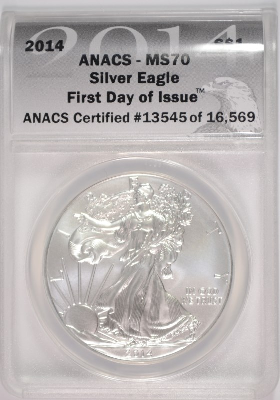 2014 AMERICAN SILVER EAGLE, ANACS MS-70  FIRST DAY