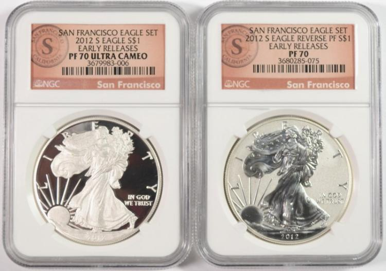 2012-S SAN FRANCISCO AMERICAN SILVER EAGLE SET, NGC PF-70 & REVERSE PF-70 UC