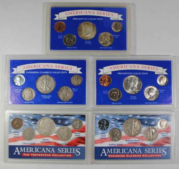 5 - UNITED STATES COIN 5pc  SETS with SILVER 50c, 25c, 10c and MORE -
