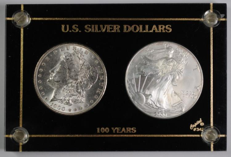 2-U.S. SILVER DOLLARS IN PLASTIC HOLDER: 1900 MORGAN, CH BU & 2000 SILVER EAGLE