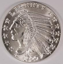 1929 INCUSE INDIAN REPLICA, ONE OUNCE .999 SILVER ROUND