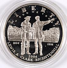 2004 LEWIS AND CLARK COMMEMORATIVE PROOF SILVER DOLLAR,  COIN AND CAPSULE