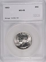 1953 WASHINGTON QUARTER, SEGS MS-65  GEM!
