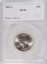 1954-S WASHINGTON QUARTER, SEGS MS-65 GEM