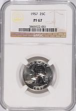 1957 WASHINGTON QUARTER, NGC PROOF-67! SUPER!
