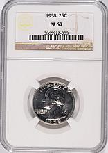 1958 WASHINGTON QUARTER, NGC PROOF-67! SUPER!