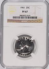 1961 WASHINGTON QUARTER, NGC PROOF-67! SUPER!