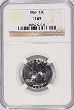 1963 WASHINGTON QUARTER, NGC PROOF-67! SUPER!