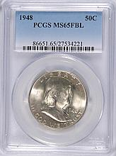 1948 FRANKLIN HALF DOLLAR, PCGS MS-65 FBL
