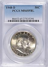 1948-D FRANKLIN HALF DOLLAR, PCGS MS-65 FBL