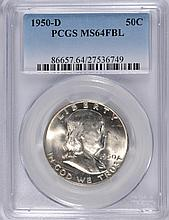 1950-D FRANKLIN HALF DOLLAR, PCGS MS-64 FBL