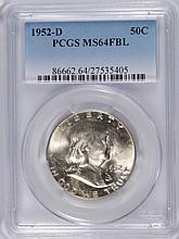 1952-D FRANKLIN HALF DOLLAR, PCGS MS64 FBL