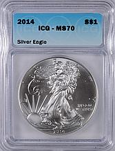 2014 AMERICAN SILVER EAGLE, ICG MS-70!   PREFECT!