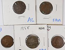 (5) INDIAN HEAD CENTS (58, 74, 76, 78, 79)