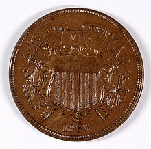 1866 TWO CENT AU-58
