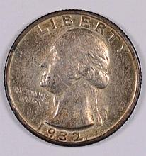 1932-S WASHINGTON QUARTER AU+