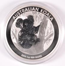 2013 AUSTRALIAN KOALA, ONE OUNCE .999 SILVER DOLLAR COIN, IN ORIGINAL CAPSULE