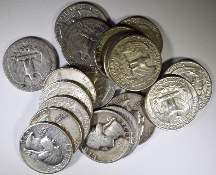 Face value 90 silver washington quarters 1964 earli for Antique items worth a lot of money