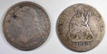 1831 BUST G/VG & 1853 ARROWS & RAYS AG, QUARTERS