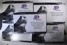 5-2007 SILVER QUARTER Pf SETS IN ORIG BOXES/COA