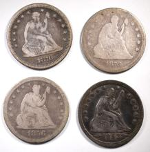 4 SEATED QUARTERS: 1853 A&R QUARTER VF NICE &