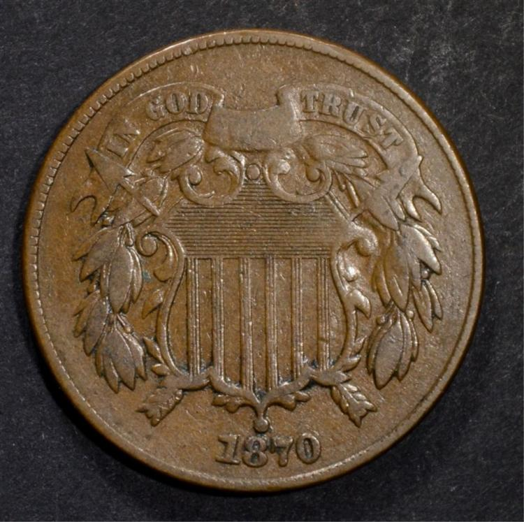 1870 TWO CENT PIECE, VF KEY DATE
