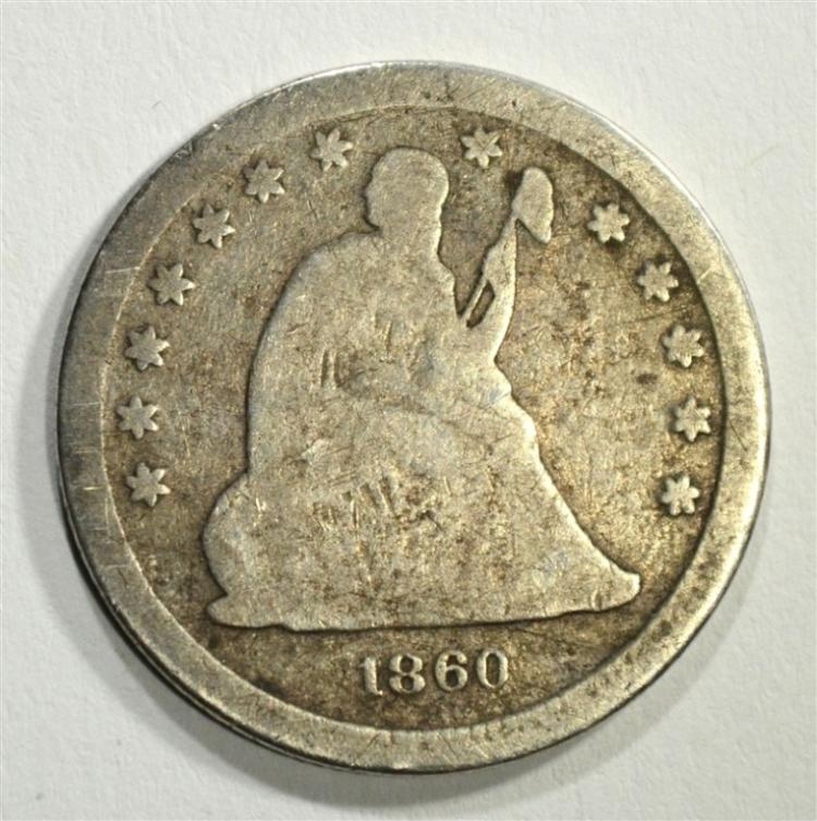 1860-S SEATED LIBERTY QUARTER, AG/G VERY RARE!!!