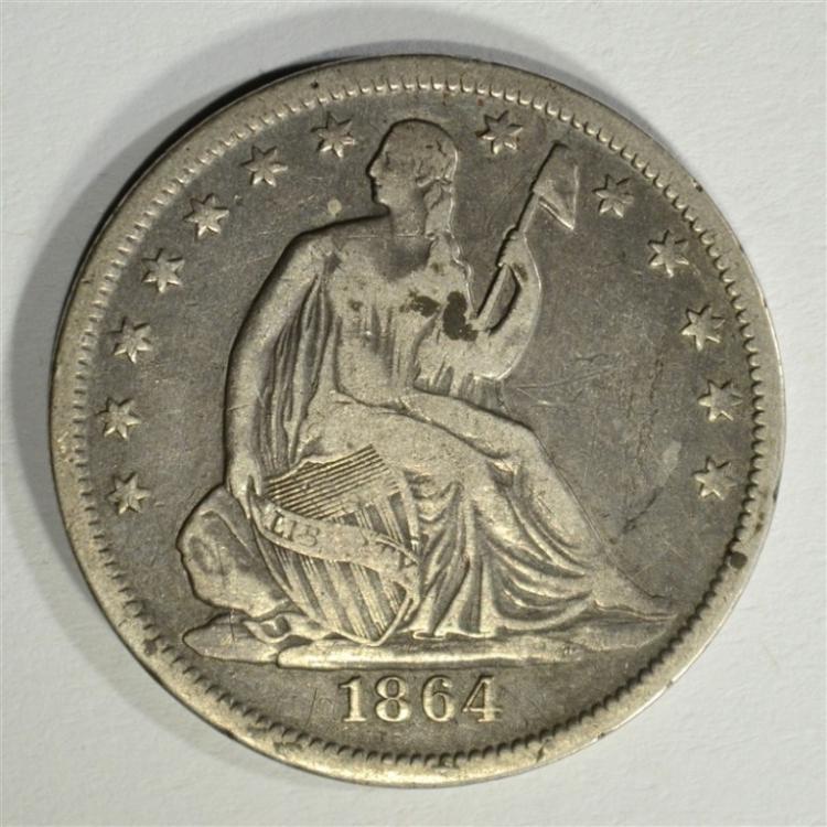 1864-S SEATED HALF DOLLAR, VF/XF