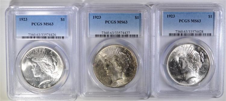 3-1923 PEACE DOLLARS, PCGS MS63