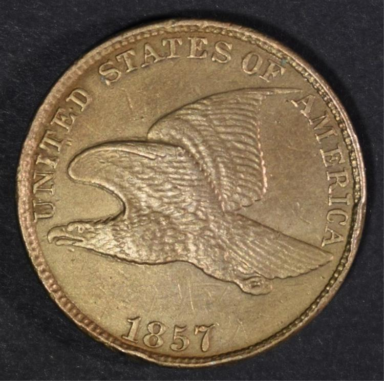 1857 FLYING EAGLE CENT AU/UNC+