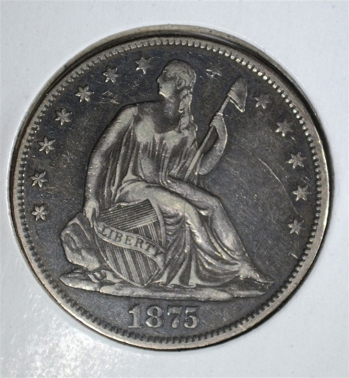 1875-CC SEATED LIBERTY HALF DOLLAR