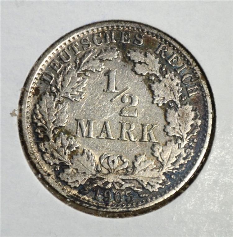 1905 A SILVER 1/2 MARK GERMAN EMPIRE