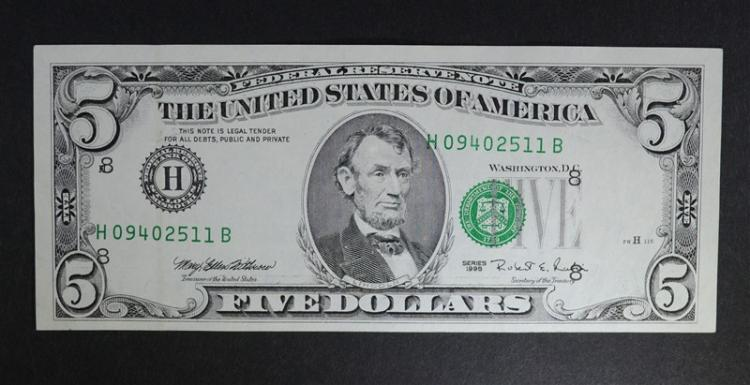 1995 $5 FEDERAL RESERVE NOTE