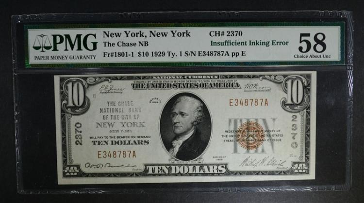1929 TY.1 $10 NATIONAL CURRENCY PMG 58