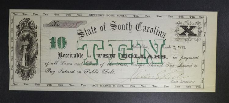 1872 $10 STATE OF SOUTH CAROLINA GEM BU