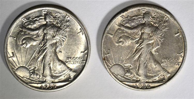 1935 & 36-S -XF WALKING LIBERTY HALF DOLLARS