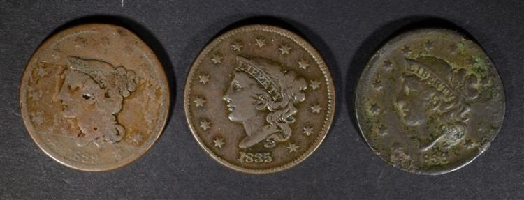 LARGE CENTS: 1835 F/VF, 1839 AG & 1839 GOOD